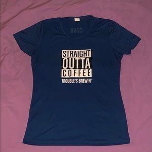 Ladies Small Straight Outta Coffee Shirt Blue